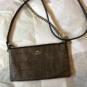 Coach  NWOT  croc embossed leather crossbody bag